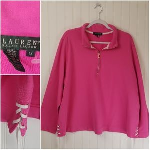 RALPH LAUREN Pink 1/4 Zip Sweatshirt Lace Up Side